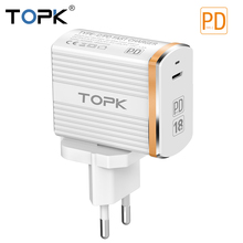 TOPK 18W Type C PD Fast Charging USB Charger for Samsung Galaxy S9 S8 Plus EU/UK Plug Phone Quick Travel Port