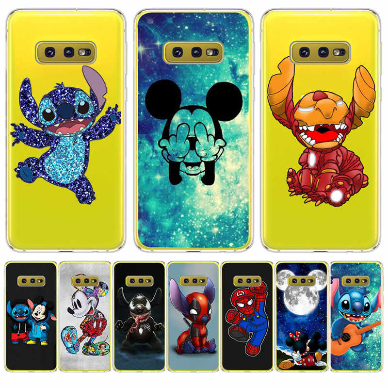 Kartun Stitch Marvel untuk Samsung Galaxy S6 S7 Edge S8 S9 S10 Plus Lite Note 8 9 Phone Case Soft cover Tritone Etui Funda Capinha