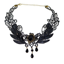 Bling-World Black Rose Flower Lace Gothic Beads Pendant Choker Necklace Delicate