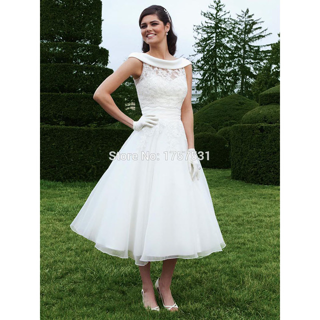 New 2015 Tea Length Garden Wedding Dress with Wrap Available In ...