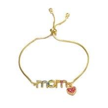 Juya Women Bracelets Supplies MaMa Boy Girl Charm For Mom Daughter Birthday Gift Jewelry Adjustable Chains