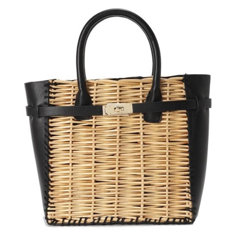 JHD-New Black Pu Straw Bag Natural Rattan Shoulder Bag Beach Handbags Weaving Handmade Crossbody Bag