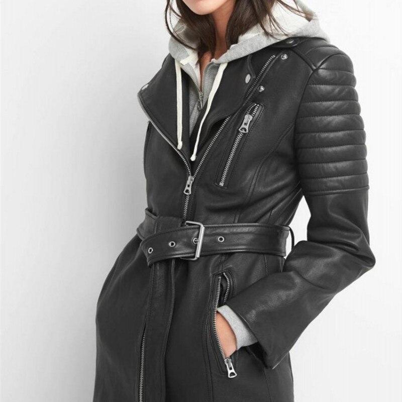 Larga Con Chaqueta Cinturón De Black Slim Punk Cuero Novio Abrigo 100  Casual Oveja Streetwear Mujeres Las Fit Piel Biker qdXd80Yx f5ac3167309b
