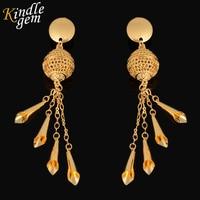 Long Earrings For Women 2016 Gold Fashion Droop Earings Trendy Dubai Affrican Party Wedding Jewelry 18K