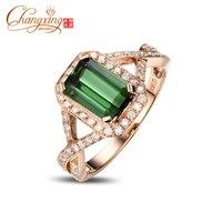 14 К желтое золото природных 2.1ct зеленый турмалин Pave Обручение кольцо