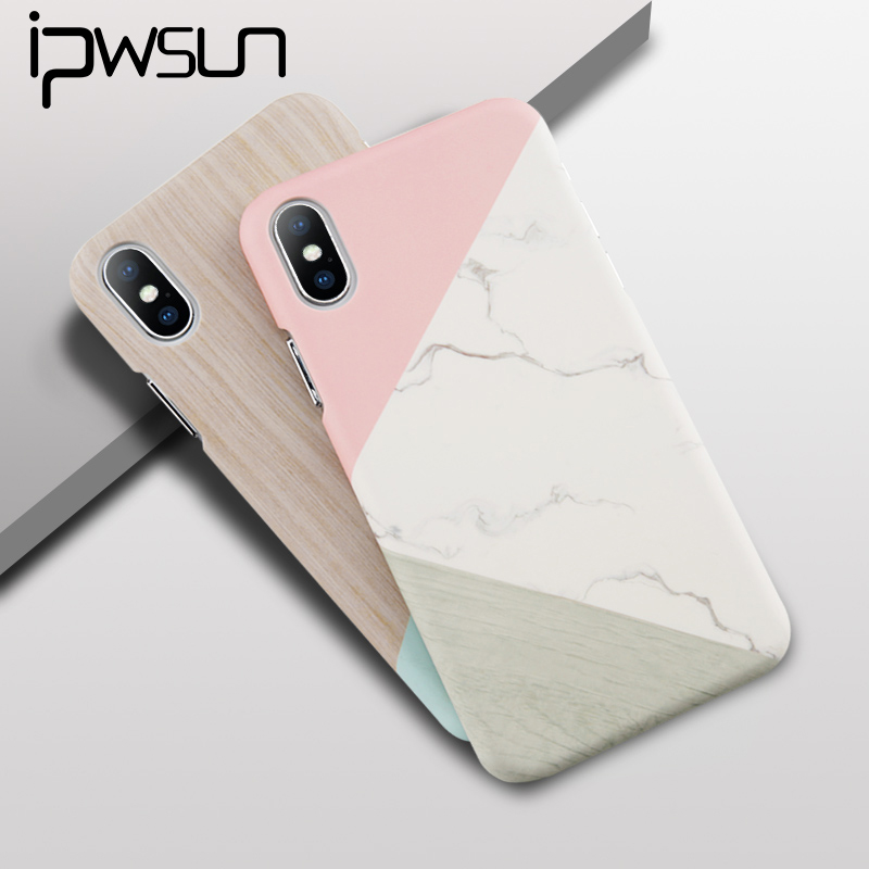 iPWSOO Marble Phone Case For iPhone 6 6S 7 8 Plus X Simple Geometry Splice Marble Hard PC Phone Case For iPhone 5 5s SE Fundas