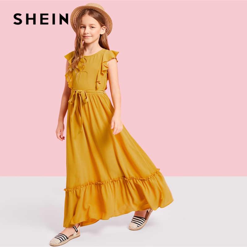17aa84607c ... SHEIN Kiddie Ginger Zip Back Ruffle Hem Teenage Girl Party Maxi Dress  2019 Summer Sleeveless A