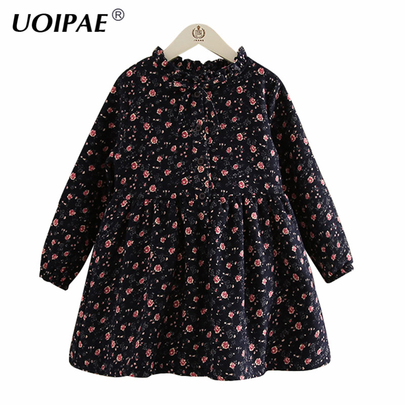 UOIPAE Girl Kids Party Dress 2017 Winter Casual Floral Printing Children Dress Plus Velvet Thick Long Sleeve Kids Clothes B0810 barbara taylor dk eyewitness books arctic and antarctic