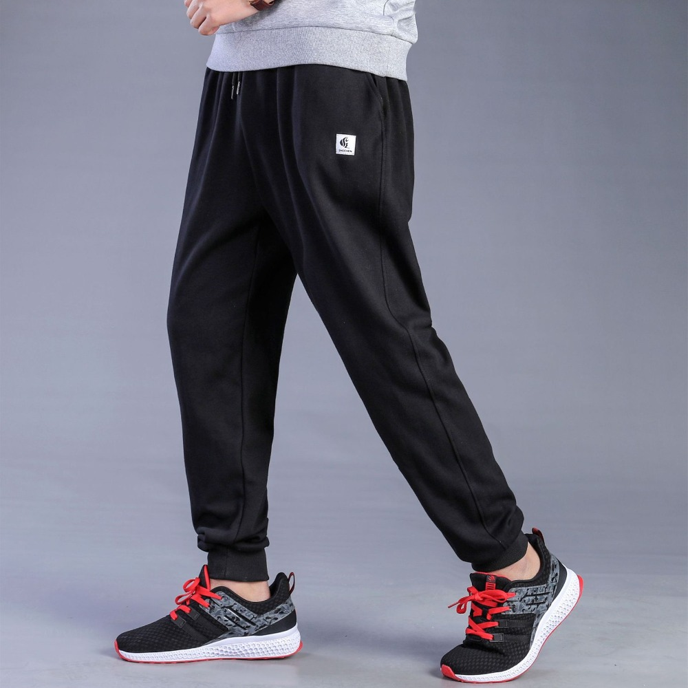 Men Big Size Joggers Sweatpants Spring Autumn Elastic Narrow Feet Pants Loose Bottoms Breathable Casual Cotton Jogger Trousers