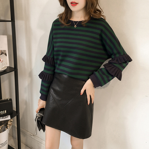 M-4xl Striped Sweatshirt Pullovers Women Plus Size Spring Autumn Ruffles Long Sleeve Tops Casual Harajuku Feminino White Green 2