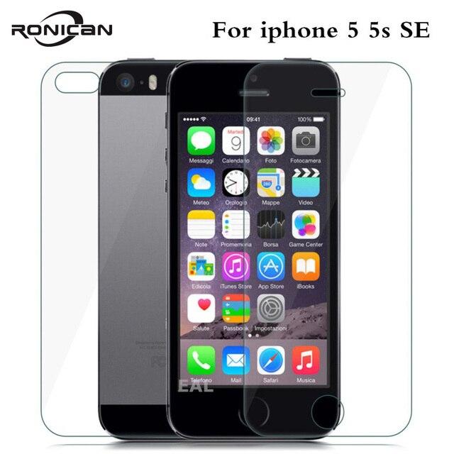 2 ADET = Ön + Arka Premium Temperli Cam iPhone 5 5 S SE için Anti scratch 9 H 0.26mm 2.5D Ekran Koruyucu Film için iPhone 5 s SE