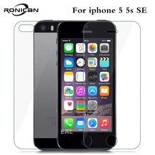 Protector de pantalla frontal y trasera para iPhone 5, 5S, SE, 9H, 0,26mm, 2.5D, 5s, SE, 2 uds.