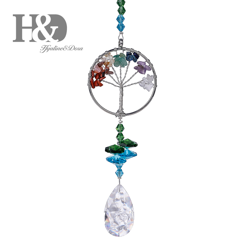 H&D Crystal Sun Catcher Tree of Life Window Ornament with 38mm Prism