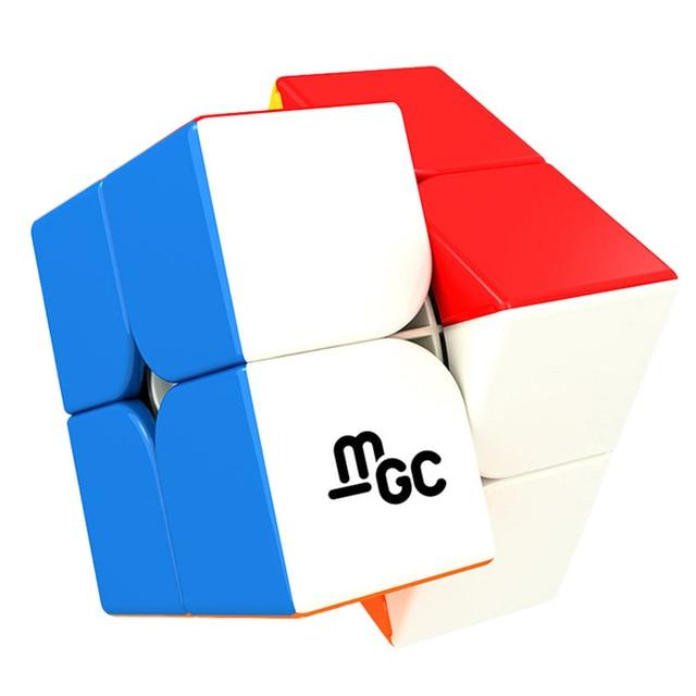 Yongjun mgc 2x2x2 cubo mágico magnético stickerless yj mgc ímãs velocidade cubo 2x2 pacote quebra-cabeça cubo neo brinquedos educativos para crianças
