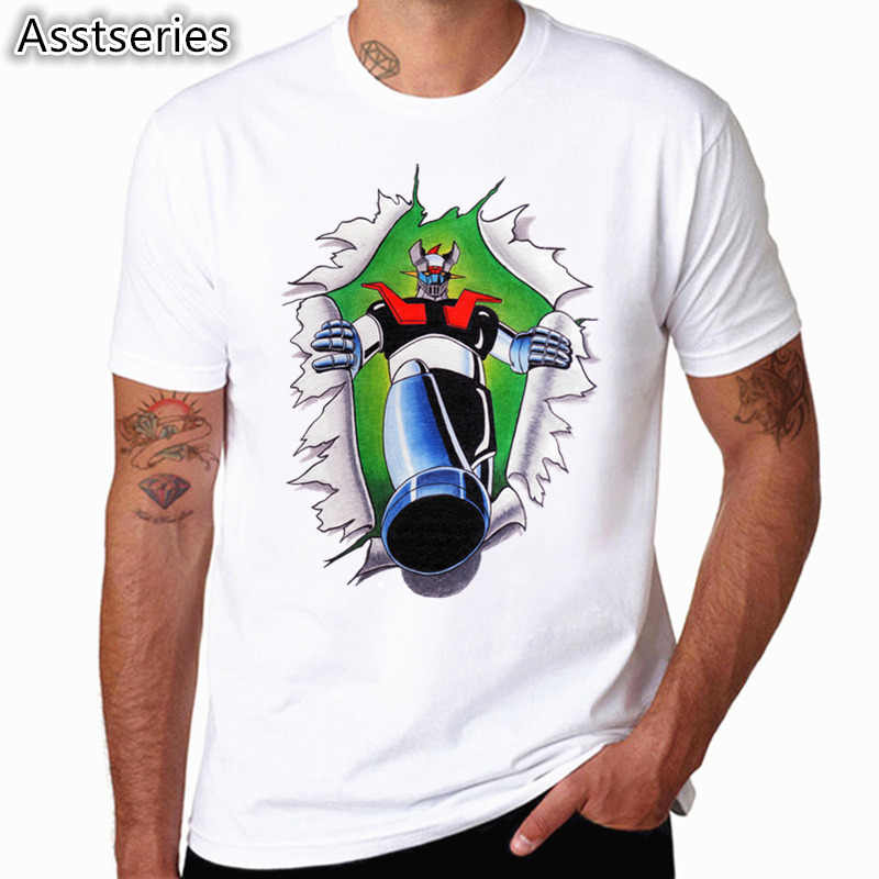 ... Asian Size Mazinger Z T Shirts Men Anime Old Classic Manga Robot Movie T -Shirt Black ... ac453596937a