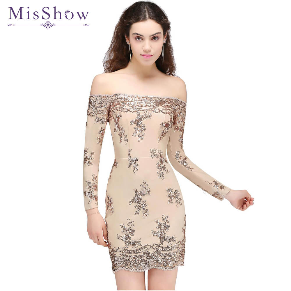 In stock sexy   cocktail     dress   Women Short off shoulder Champagne Lace Sparkling Sequins party   dresses     cocktail   vestidos 2018