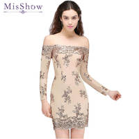 In stock sexy cocktail dress Women Short off shoulder Champagne Lace Sparkling Sequins party dresses cocktail vestidos 2019