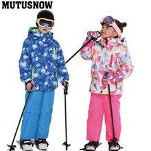 Детский лыжный костюм, детский брендовый ветрозащитный водонепроницаемый теплый зимний комплект для девочек и мальчиков, зимняя Лыжная куртка и штаны для сноуборда