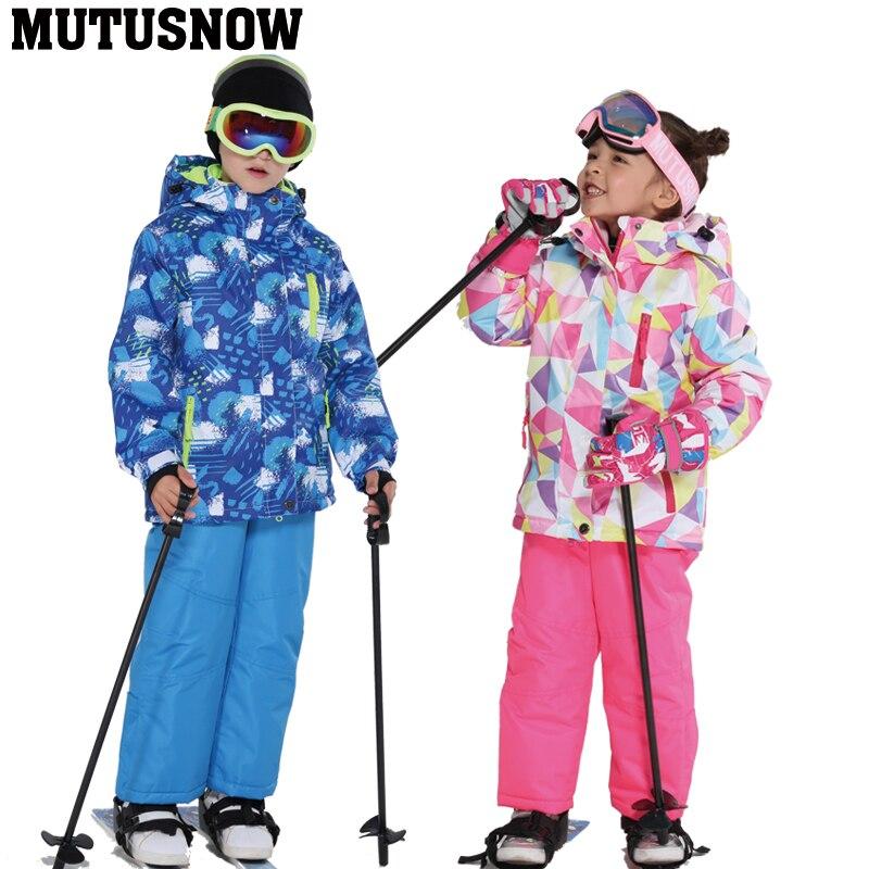 2019 crianças terno de esqui crianças marcas à prova de vento à prova dwindproof água quente meninas e meninos neve definir inverno esqui e snowboard jaqueta calças