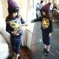 Девочки одежда комплект тигр Head кофты + хип юбки костюмы дети девочка длинный рукав одежда комплект для весна осень 1 - 7