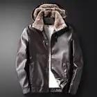 New Male PU Leather Jacket Fleece Lining Punk Stand Collar Jacket Men Hooded Zipper Male Coats Slim Fit Motorcycle Outwear - 6