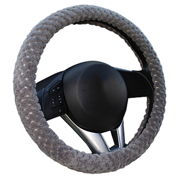 Winter Car Steering Wheel Cover/Universal Soft Warm Plush Covers for steering women men girl car interior gray image