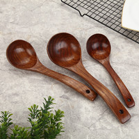 AOOSY Wooden Cooking Scoop Catering Tableware Wooden Kitchen Utensils 3pcs / set Natural Wood Spoon Soup Ladle