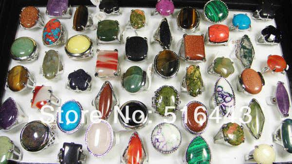 โปรโมชั่นบิ๊ก20ชิ้นบิ๊กหินธรรมชาติแฟชั่นชุบเงินสตรีบุรุษเครื่องประดับขายส่งจำนวนมากA-032
