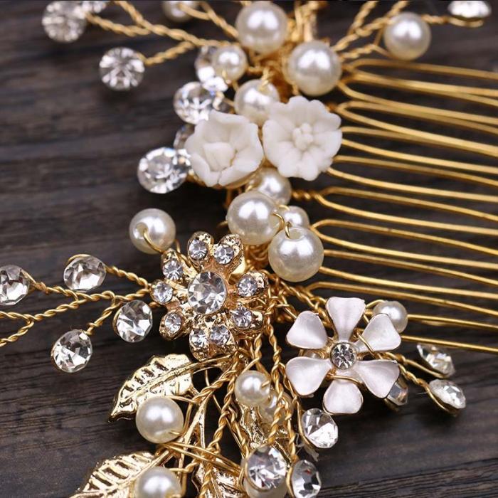 Gold Leaf Flower Pearl Rhinestone Hair Comb Wedding Hair Jewelry 7