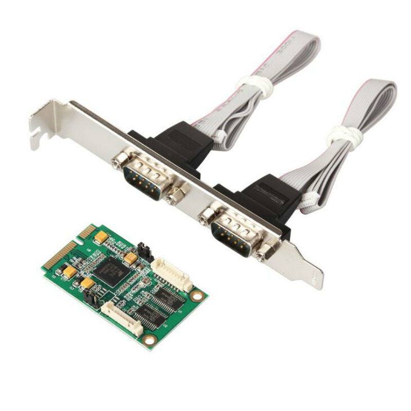 цена на EXAR 17V352 Mini PCI Express 2-ports (RS232) db9 com half size mini pcie serial port industrial controller card