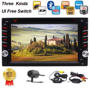 Double 2 Din In Dash DVD Player 6.2 Inch Touchscreen Stereo FM AM Car Radio USB SD Music Bluetooth 1080p Wirelesss Revising Cam image