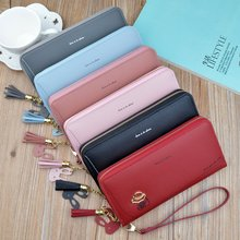 купить Fashion Women Long Wallet Lady Handbags New Zipper Coin PU Leather Purse Cards Holder Female Long Clutch Y2013 по цене 653.38 рублей