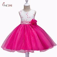 MUABABY Flower Girls Princess Party Dress Summer Children Sleeveless Embroidery Lace Ball Pageant Dresses Kids Sequin