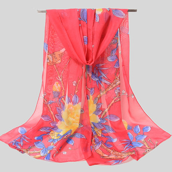 GREENYU Brand Latest High Quality Chiffon Printed Floral Red Pink Sunscreen Long Thin Ladies Scarves 50*160CM pink random floral printed jacket