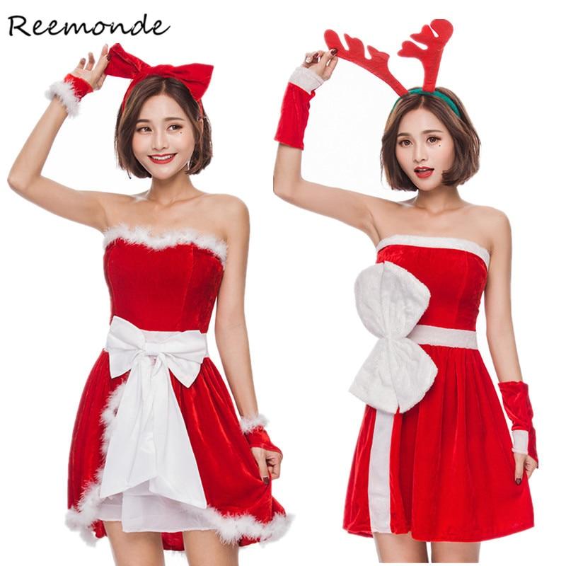 Christmas Cosplay Costumes Santa Claus Cashmere Velvet Red Dresses Skirt Headgear Set Uniform Adults Women Girls Party Clothes