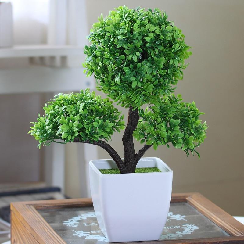 Hyson Shop Decorativo Flor Artificial Bonsai Maceta