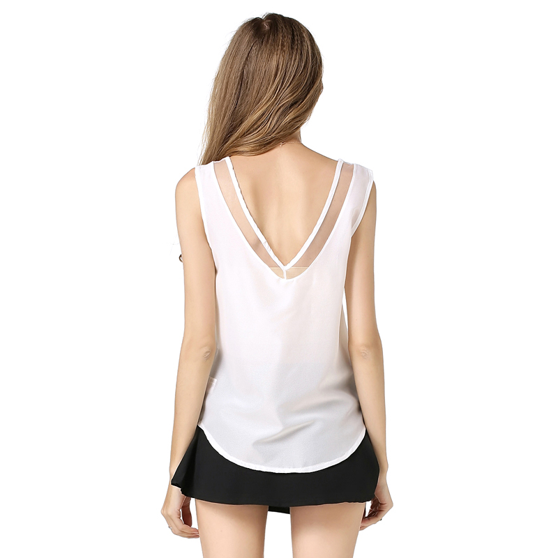2593f0b8f42b10 Pure color women chiffon tops 2016 fashion design ladies sheer blouse sleeveless  v neck shirts girls vogue sheer summer tops-in Blouses   Shirts from ...