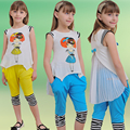 New 2016 summer brand children's clothing sets girl fashion sport suit kids lovely cartoon pleated chiffon garment&pant 2 pieces
