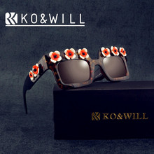 KOWILL Sunglasses Women Brand Designer Vintage Metal Frame Lady Sun Glasses Square Frame with Flower pra Oculos De Sol 4 Colors
