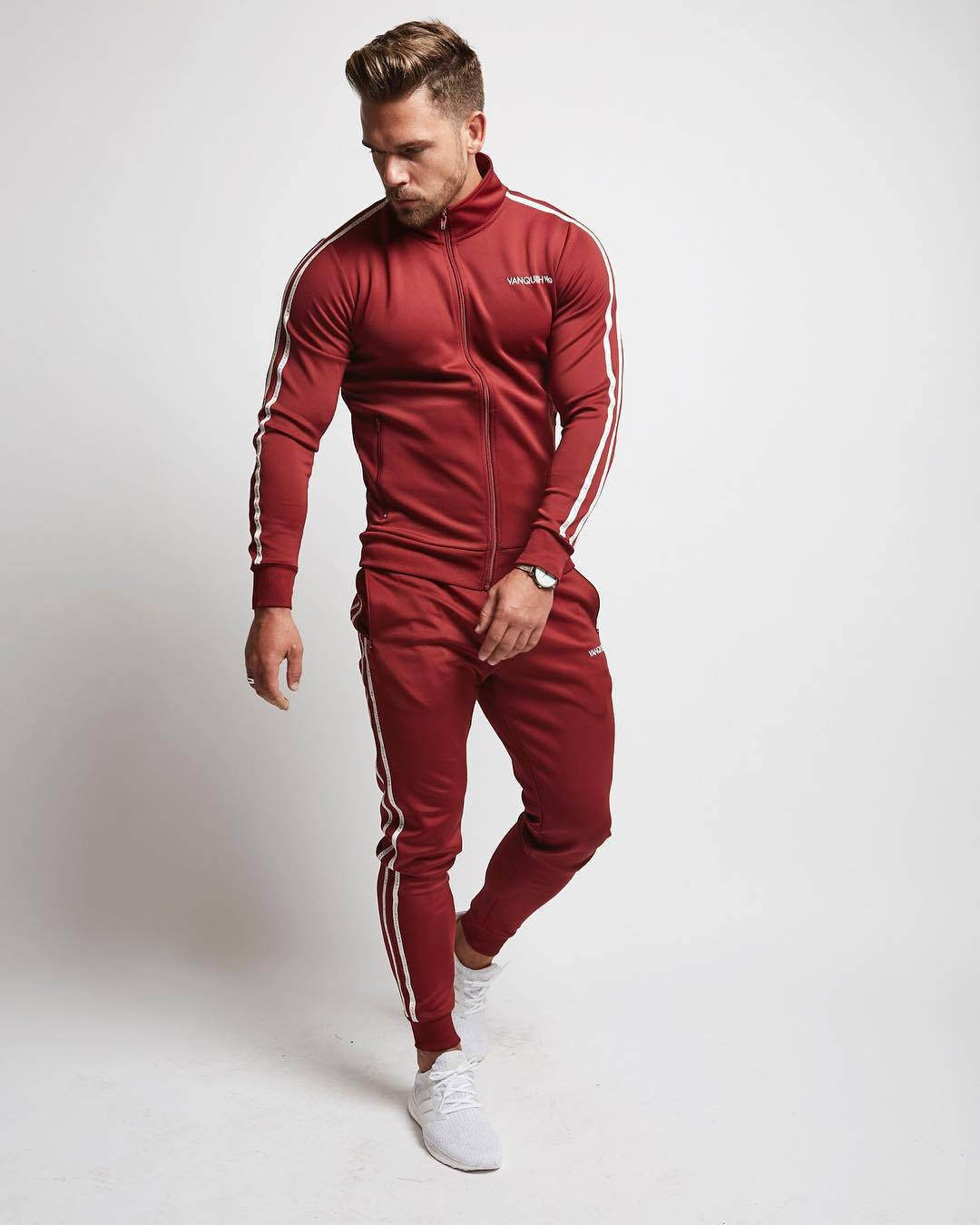 Autumn Winter Men Sport Suit Stripe Printed Zip Up Jacket Sweatshirt pant Casual Running Jogger Workout Fitness Set Sportswear in Running Sets from Sports Entertainment