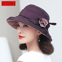 PTAH 2017 Fashion Design Flower Outdoor UV Protection Foldable Brimmed Summer Hats For Women High Quality