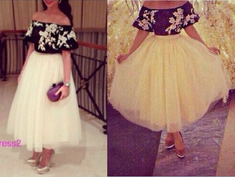 2015 Glamorous Off the Shoulder Classic Black With White Appliqued Beaded Vintage Tea Length Prom Party Evening Dresses in Evening Dresses from Weddings Events