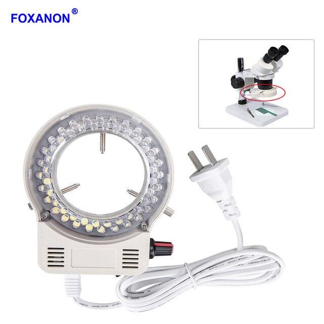 Foxanon LEVOU Iluminador de Luz do Anel Microscópio de Luz Da Lâmpada AC 110V 220V Ajustável de Alta Qualidade DC 12V Estéreo luzes de Microscopio