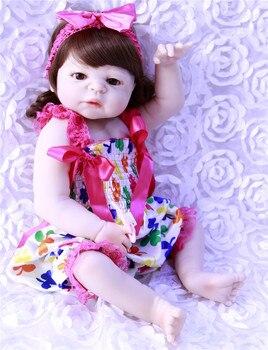 "23"" reborn Baby Doll Princess Girl Dolls full body Soft Silicone Babies Girls Lifelike real born dolls curly hair bonecas rebor"