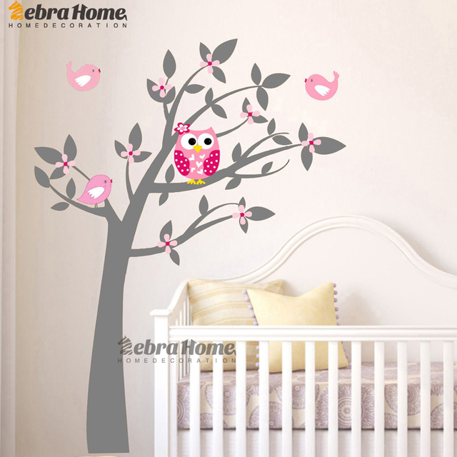 Owl Vinyl Tree Wall Sticker Decals Mural Wallpaper Children Kids Baby Room  Nursery Bedroom Sticker New Part 48