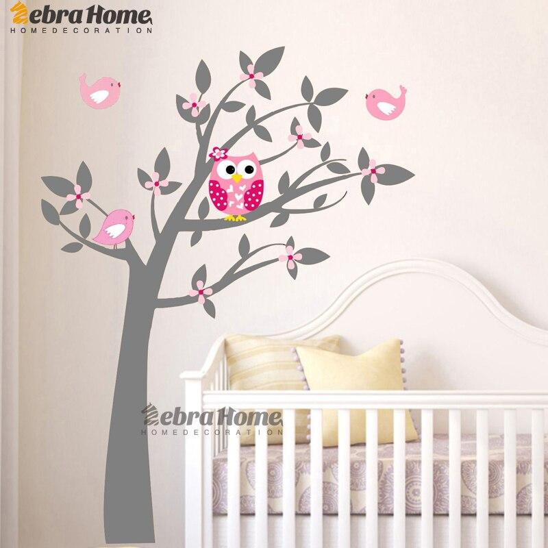 Owl Vinyl Tree Wall Sticker Decals Mural Wallpaper Children Kids Baby Room Nursery Bedroom Sticker New Year Tree Home Decoration