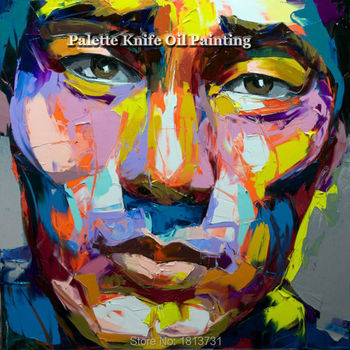Hand painted Francoise Nielly Palette knife portrait Face Oil painting Character figure canva wall Art picture14-70