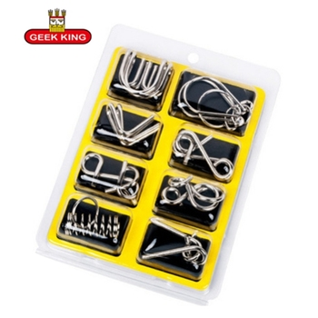цена GEEKKING 8pcs/set Montessori Materials  Metal Wire Puzzle IQ Mind Brain Teaser Puzzles Game For Adults And Kids Eeducational Toy онлайн в 2017 году