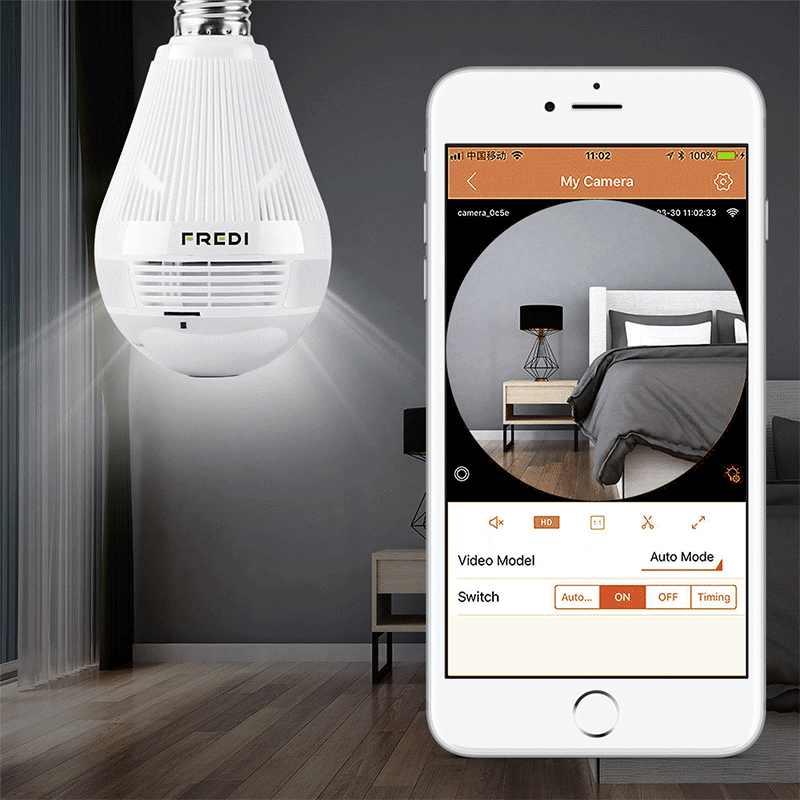FREDI 960P Fisheye IP Camera WiFi 360 Degree View Angle Light Lamp Bulb Surveillance Security Camera Home Security CCTV Camera