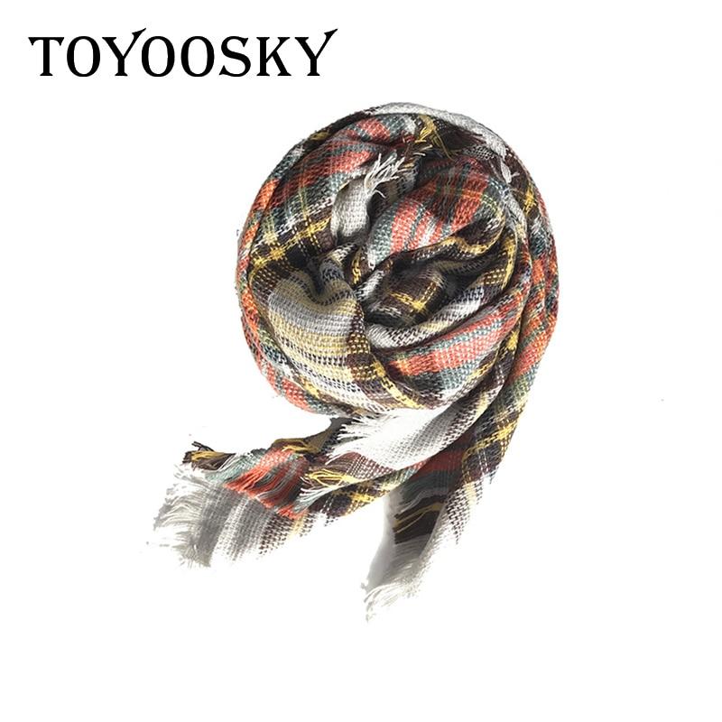 Children Warm Scarves Cape Shawl Winter Scarf Fashion Cashmere Plaid Kid Scarf Square Soft Blanket shawl For Boy Girl TOYOOSKY